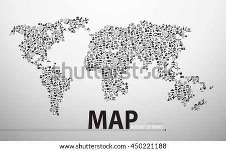 internet of things technology map icon structure design background - stock vector