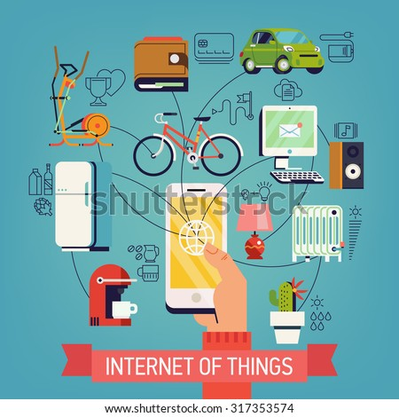 Internet of things vector concept design in trendy flat design with hand holding mobile phone connected to various objects | Future of network high technology in everyday life | Internet of everything - stock vector