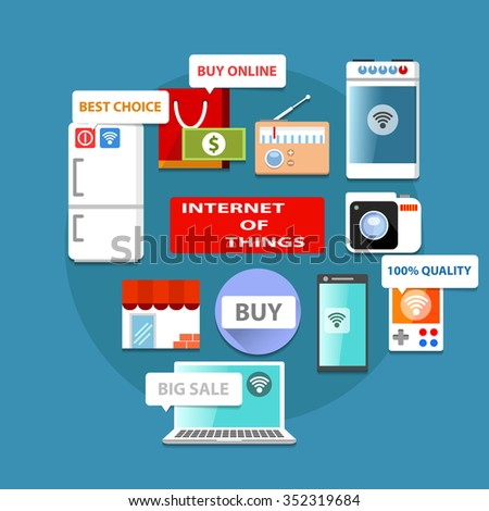 Internet of things, world of technology, flat vector concept for your design and other things - stock vector