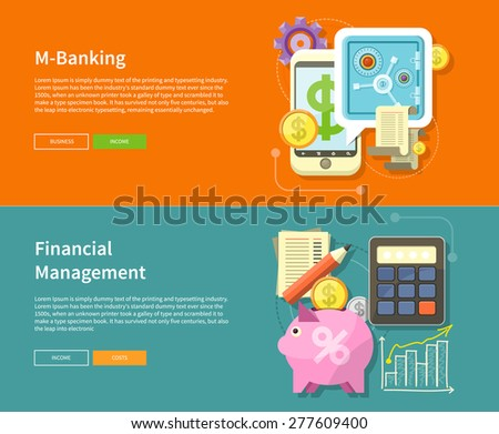 Internet online banking. Money exchange m banking. Accounting with digitial caculator. Financial management concept with item icons graph, pig, calculator, document page in flat design - stock vector