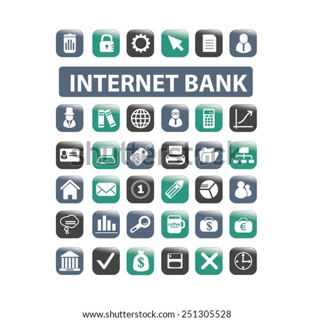 internet online banking, payment, finance, money isolated design flat icons, signs, illustrations vector set on background - stock vector