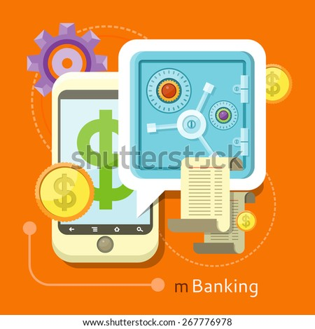 Internet online banking. Smartphone with sign of dollar and safe where enter a password to login to profile at bank flat design style. Money exchange m banking - stock vector