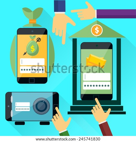 Internet online banking. Smartphone with site of bank where enter a password to login to profile at bank flat design style. Money exchange - stock vector
