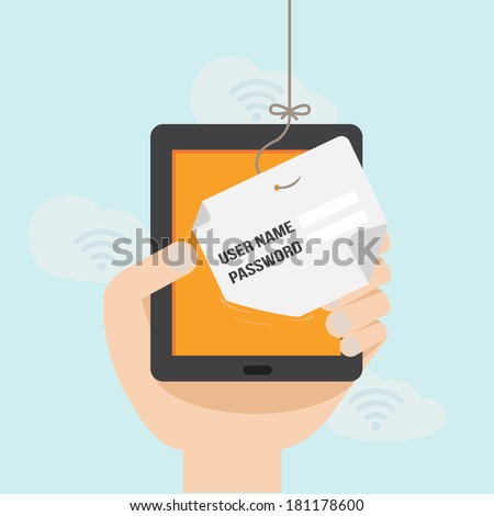 Internet Phishing a login and password concept  - stock vector