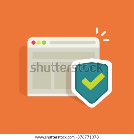 Internet protection symbol, data protection shield logo, information security flat icon, antivirus emblem, protected connection sign, online security concept, vector illustration design isolated - stock vector