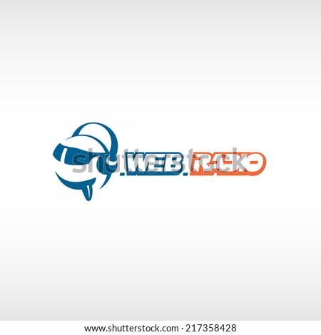 Internet radio logo template. Fun head with headphones and glass - stock vector