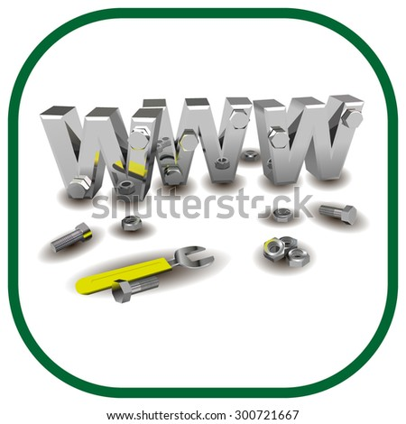 Internet repair: wrench, www, metallic screws and bolts