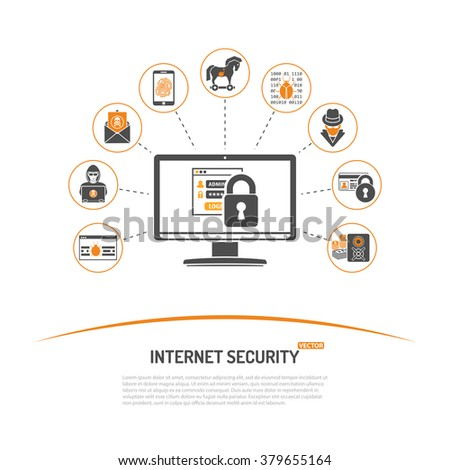 Internet Security and Crime Concept with Icon Set for Flyer, Poster, Web Site Like Hacker, Virus, Spam and Safe. Internet Security and Crime Advertising. Crime Concept. - stock vector