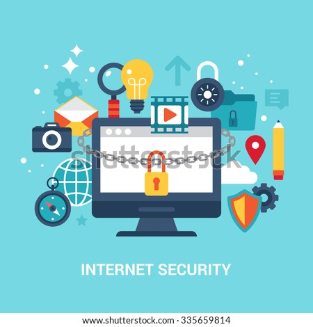 Internet security and data protection concept flat vector illustration - stock vector