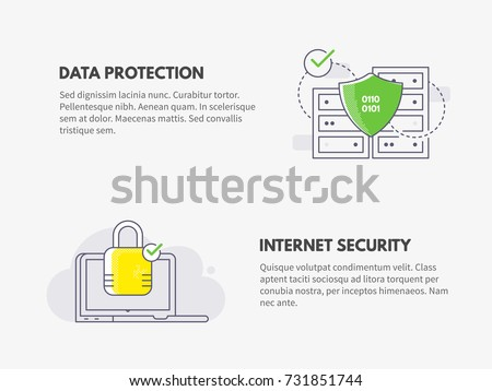 Internet security and Data protection. Cyber security concept. Vector thin line illustration design.