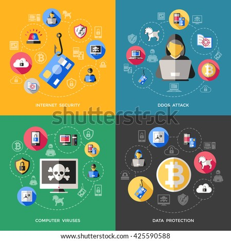 Internet security concept with attack of computer viruses, data protection phishing spam, and spy threat. Isolated vector illustration  - stock vector