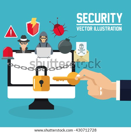 Internet security design. System icon. Colorful illustration , vector - stock vector