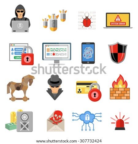 Internet Security Flat Icon Set for Flyer, Poster, Web Site Like Hacker, Virus, Spam and Firewall. - stock vector