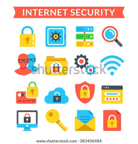 Internet security icons set. Online protection, system privacy, antivirus. Modern flat colorful icons, material design icons set for web sites, web banners, mobile apps, infographics. Vector icons set - stock vector