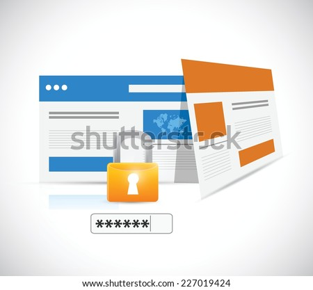 internet security lock and password illustration design over a white background - stock vector