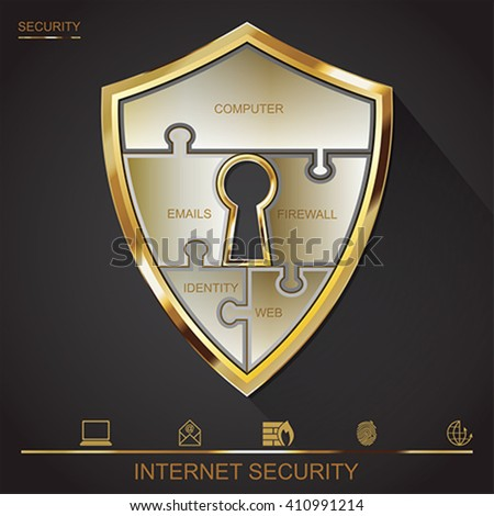 Internet security shield puzzle with key hall, vector  - stock vector