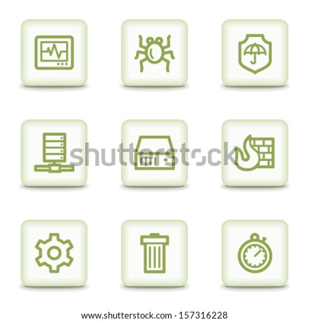 Internet security web icons, white glossy buttons