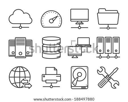 Internet, server, network icons set - stock vector
