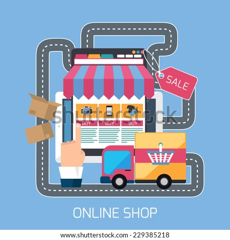 Internet shopping concept smartphone with awning of buying products via online shop store and road with delivery car e-commerce ideas e-commerce symbols sale elements on stylish background - stock vector