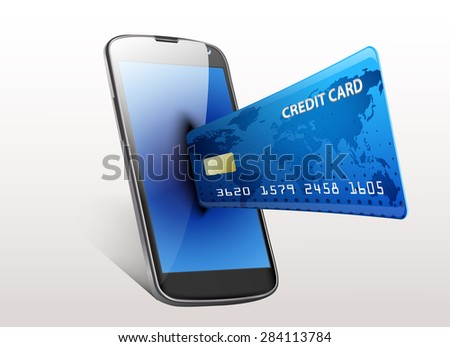 Internet shopping concept smartphone with credit card. Vector