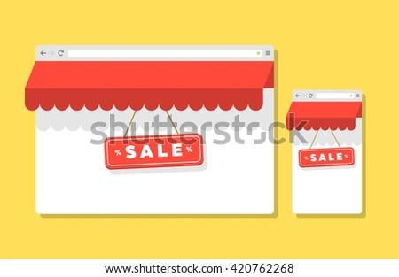 Internet shopping icon. Internet shopping concept. Internet shopping image. Internet shopping illustration. Internet shopping vector. Internet shopping browser. Internet shopping flat.  - stock vector
