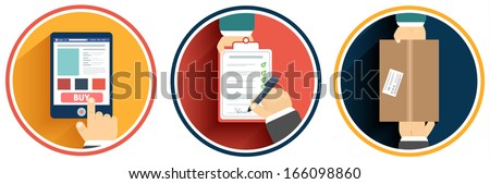 Internet shopping process of purchasing - stock vector