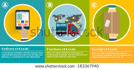 Internet shopping process of purchasing and delivery - stock vector