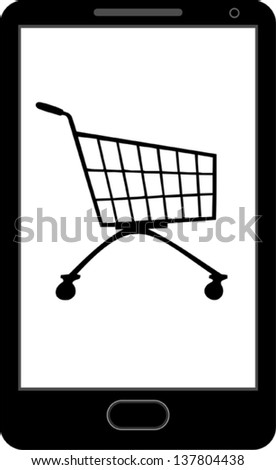 Internet shopping smart phone icon - stock vector