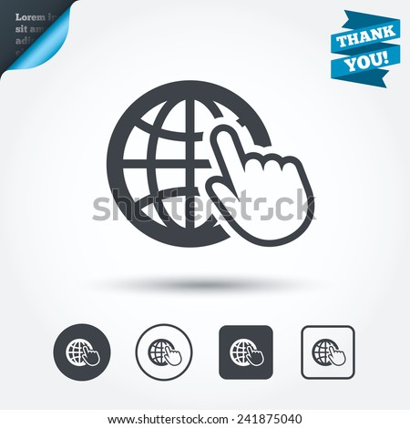 Internet sign icon. World wide web symbol. Cursor pointer. Circle and square buttons. Flat design set. Thank you ribbon. Vector - stock vector