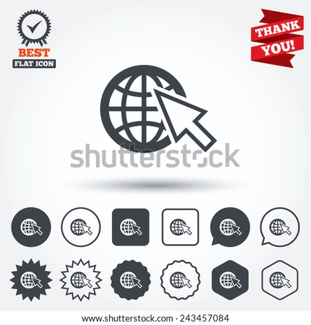 Internet sign icon. World wide web symbol. Cursor pointer. Circle, star, speech bubble and square buttons. Award medal with check mark. Thank you ribbon. Vector - stock vector