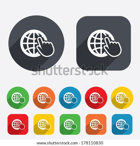 Internet sign icon. World wide web symbol. Cursor pointer. Circles and rounded squares 12 buttons. Vector - stock vector