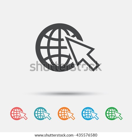 Internet sign icon. World wide web symbol. Cursor pointer. Graphic element on white background. Colour clean flat internet icons. Vector - stock vector