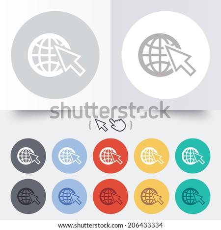 Internet sign icon. World wide web symbol. Cursor pointer. Round 12 circle buttons. Shadow. Hand cursor pointer. Vector - stock vector