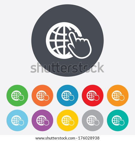Internet sign icon. World wide web symbol. Cursor pointer. Round colourful 11 buttons. Vector - stock vector