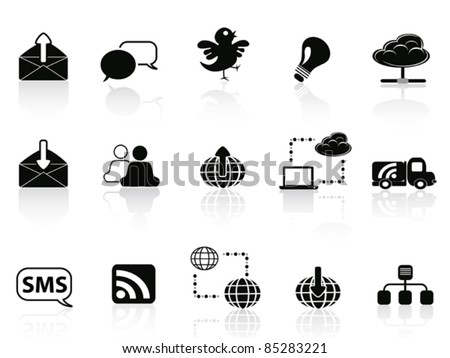 Internet social communications icon set - stock vector