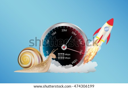 Internet Speed Meter Rocket Snail Stock Vector 474306199 ...