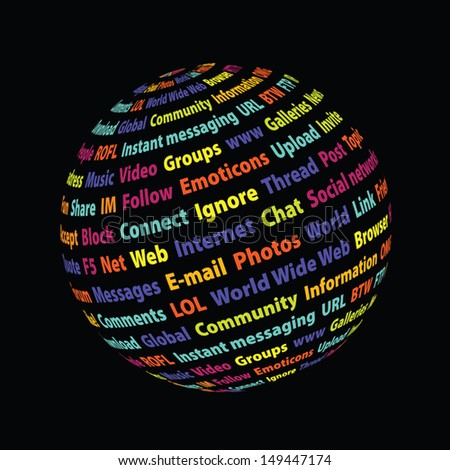 Internet sphere. Frequent words related to social networks. Vector illustration. - stock vector
