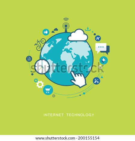 Internet technology flat illustration. eps8 - stock vector