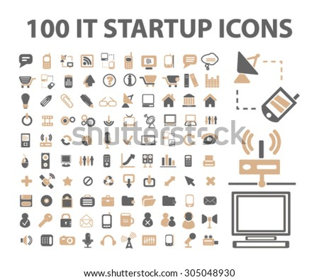 internet technology, startup icons, signs set, vector - stock vector