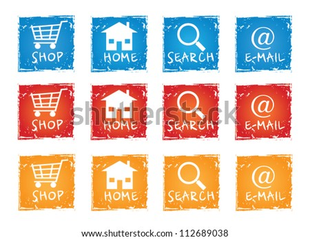 Internet vector icon collection in different colors - stock vector
