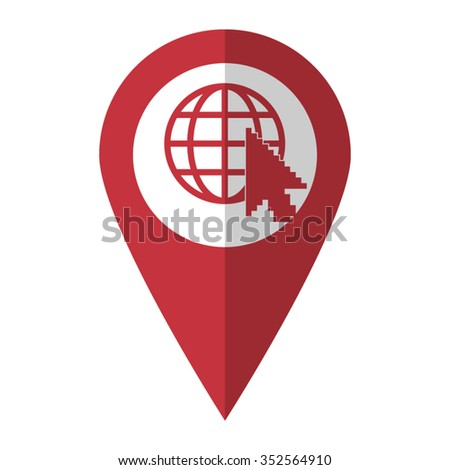 Internet - vector icon; red map  pointer - stock vector