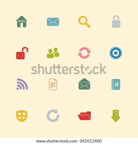Internet vintage colour icons - stock vector