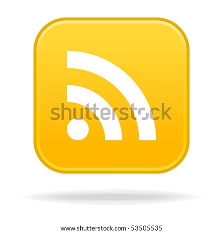 Internet web button with RSS sign. Yellow rounded square shape with drop shadow. White background - stock vector