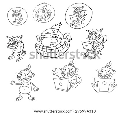 Internet, web, forum, cyber, or just troll icon set or mix in vector - stock vector