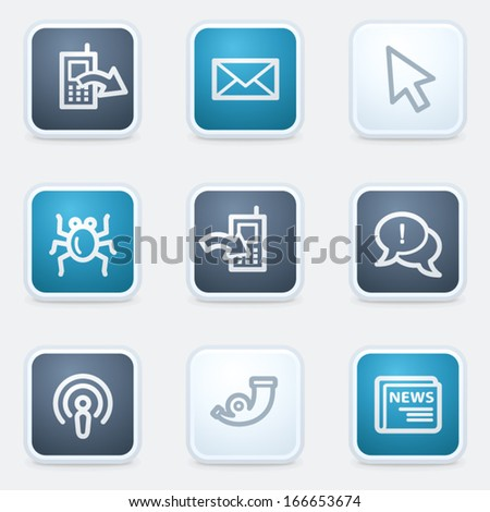 Internet web icon set 2, square buttons - stock vector