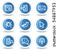 Internet web icons set 2, blue glossy circle buttons - stock vector
