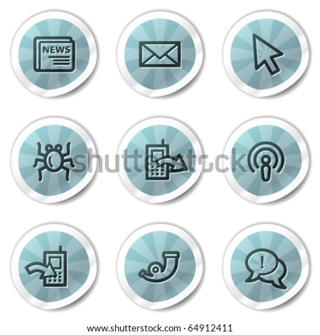 Internet web icons set 2, blue shine stickers series - stock vector