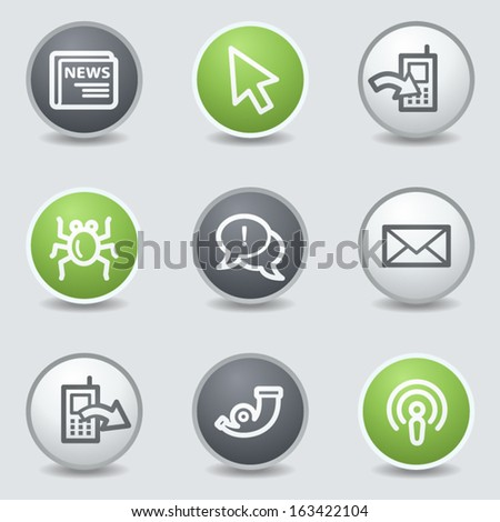 Internet web icons set 2, circle buttons - stock vector
