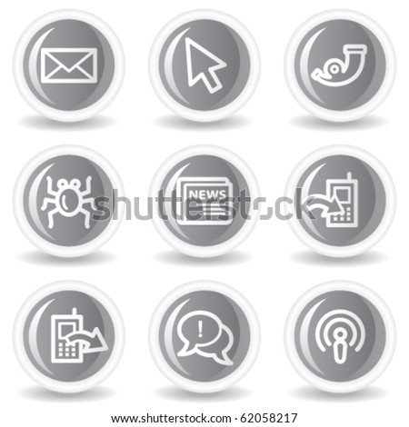 Internet web icons set 2, circle grey glossy buttons