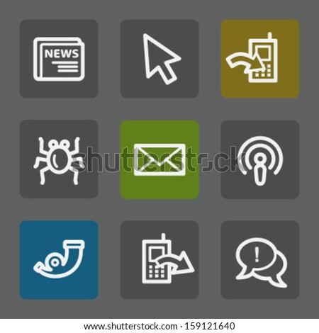 Internet web icons set 2, flat buttons - stock vector